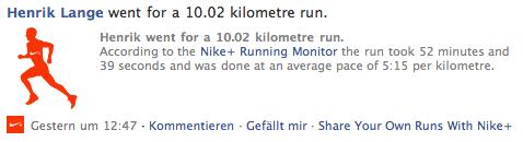 NikePlus auf Facebook