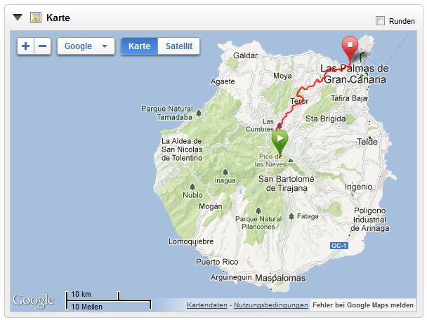 Gran Canaria mit Laufstrecke, (c) Garmin Connect